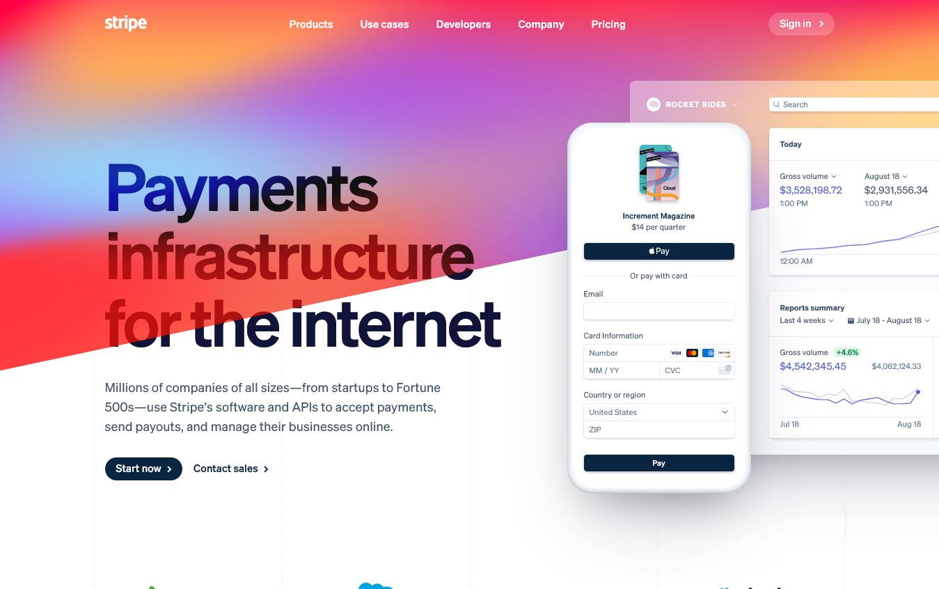 Stripe front page screenshot